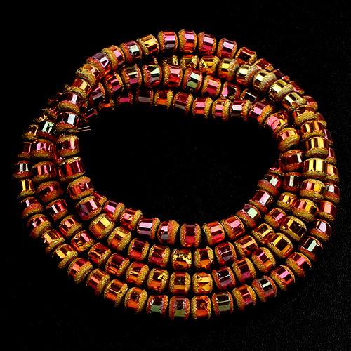 Perles rondes 4mm cristal givrées métal - 730