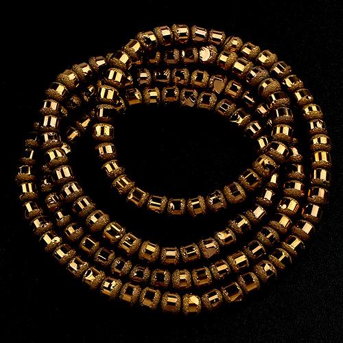 Perles rondes 4mm cristal givrées métal - 844