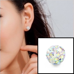 Boucle d'oreille INOX simple boules strass - Crystal AB