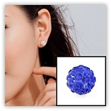 Boucle d'oreille INOX simple boules strass - Sapphire