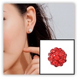 Boucle d'oreille INOX simple boules strass - Siam