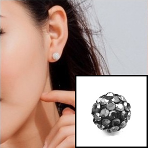 Boucle d'oreille INOX simple boules strass - Silver