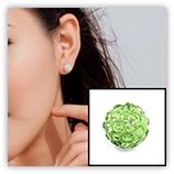 Boucle d'oreille INOX simple boules strass - Péridot