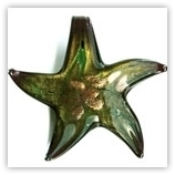 Pendentif étoile feuille doré YW007 - Noir et vert