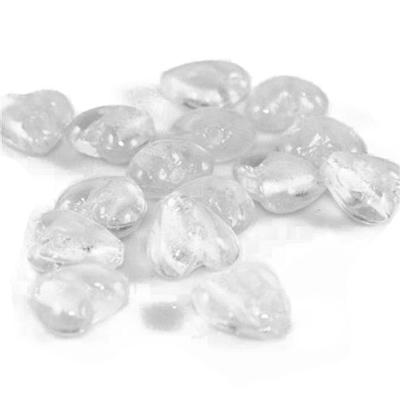 Coeurs feuille argenté 12mm - Cristal