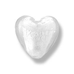 Coeur feuille argenté 30mm - Cristal