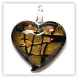 Coeur 45mm feuille doré - Noir