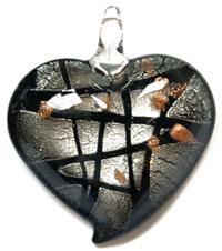 Coeur 45mm feuille d\'argent - Noir