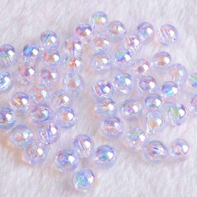 Rondes lisses 06mm acryliques - Cristal irisé
