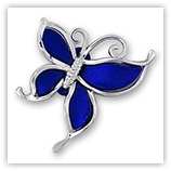 Papillon acrylique argenté 50 mm - Bleu royal