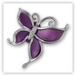 Papillon acrylique argenté 50 mm - Purple