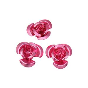 Perles fleurs aluminium 12 mm - Rose