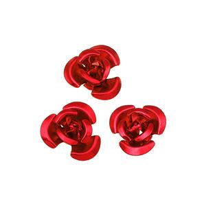 Perles fleurs aluminium 12 mm - Rouge
