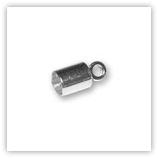 Embouts tube&anneau ronds argentés pour cordon 6 à 6.5mm x100
