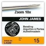 Aiguille 0.25mm à perles avec chas taille 15 x25
