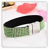 Bracelet Strass 6 rangs - Vert