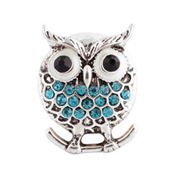 Bouton pression Hibou-branche Strass - Turquoise