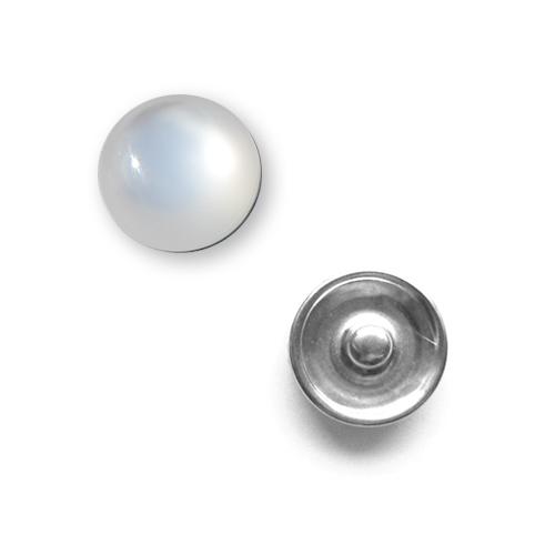 Bouton pression Oeil de Chat interchangeable 20mm - Blanc