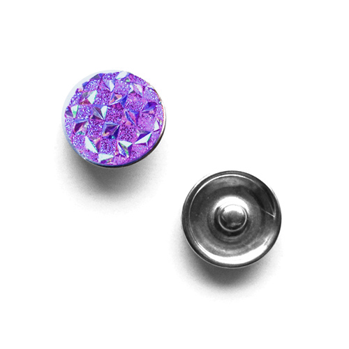 Bouton pression damier interchangeable 20mm - Amethyste