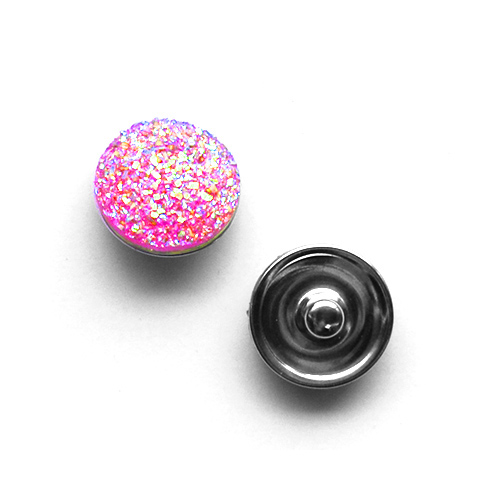 Bouton pression pailleté interchangeable 20mm - Rose