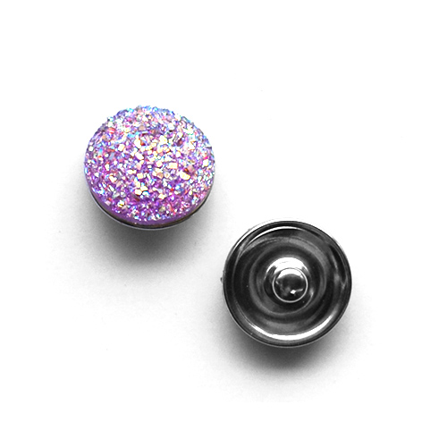 Bouton pression paillet� interchangeable 20mm - Violet