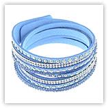 Bracelet velours strass - Bleu