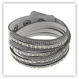 Bracelet velours strass - Gris