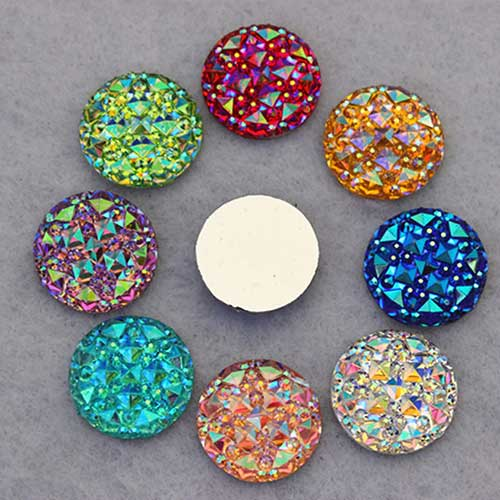 Cabochons 16 mm damiers irisés (lot de 10)