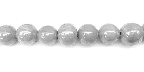 Perles rondes céramique 10mm - Gris clair irisé