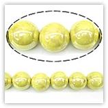 Perles rondes céramique 08mm - Jaune irisé