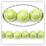Perles rondes céramique 08mm - Vert pomme irisé
