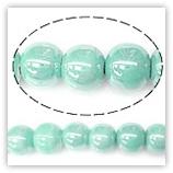 Perles rondes céramique 08mm - Turquoise vert light irisé