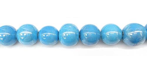 Perles rondes céramique 10mm - Turquoise bleu irisé