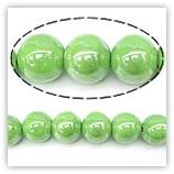 Perles rondes céramique 10mm - Vert irisé