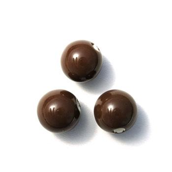 Perle ronde céramique 15mm - Marron