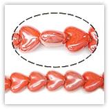 Perles coeurs céramique 20mm - Orange irisé