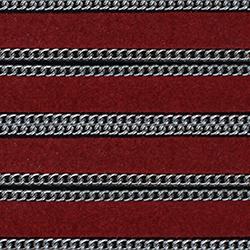 Cuir immitation Daim plat 10 mm avec chaines intégrées - rouge
