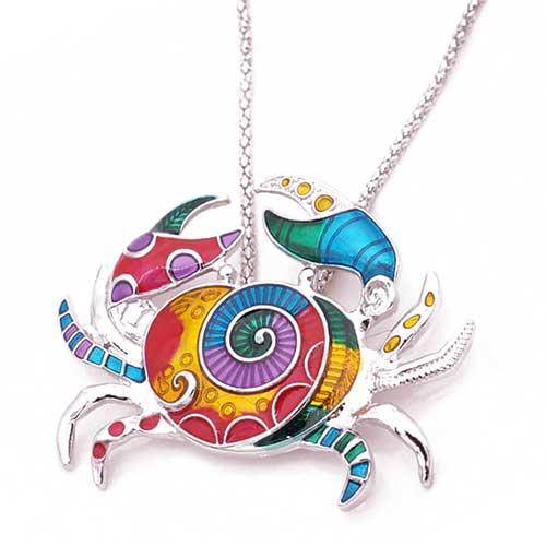 Pendentif émaillé Crabe - multicolore