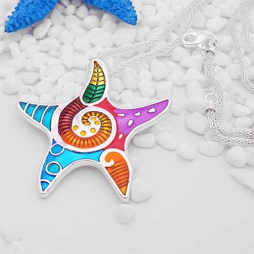 Pendentif émaillé Etoile de mer - multicolore