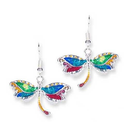 Boucles d'oreilles émaillées Libellule - multicolore
