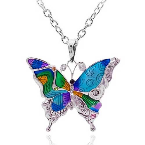 Pendentif émaillé Papillon - multicolore