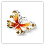 Breloque émaillée strass papillon - orange