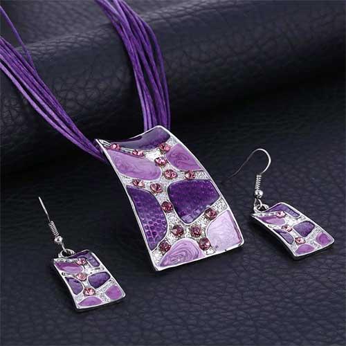 Parure émaillée strass trapèze - Violet