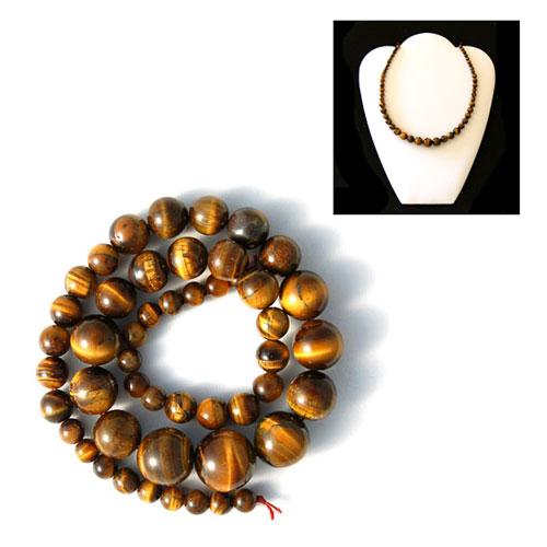 Oeil de Tigre - perles en d�grad� 42cm