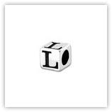 Perle Alphabet 5mm Argent Massif - L