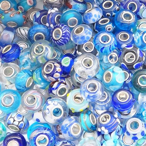 Assortiment perles pour bracelet - Bleu