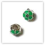 Perle pour bracelet - Double fleur émaillée - Vert