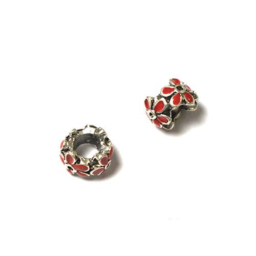 Perle pour bracelet - Quadruple fleur émaillée - Rouge