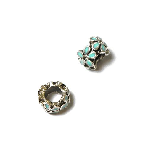 Perle pour bracelet - Quadruple fleur émaillée - Turquoise