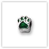 Perle pour bracelet - Papatte émaillée - Vert